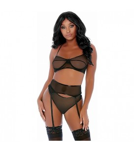 COMPARE AND CONTRAST LINGERIE SET NEGRO
